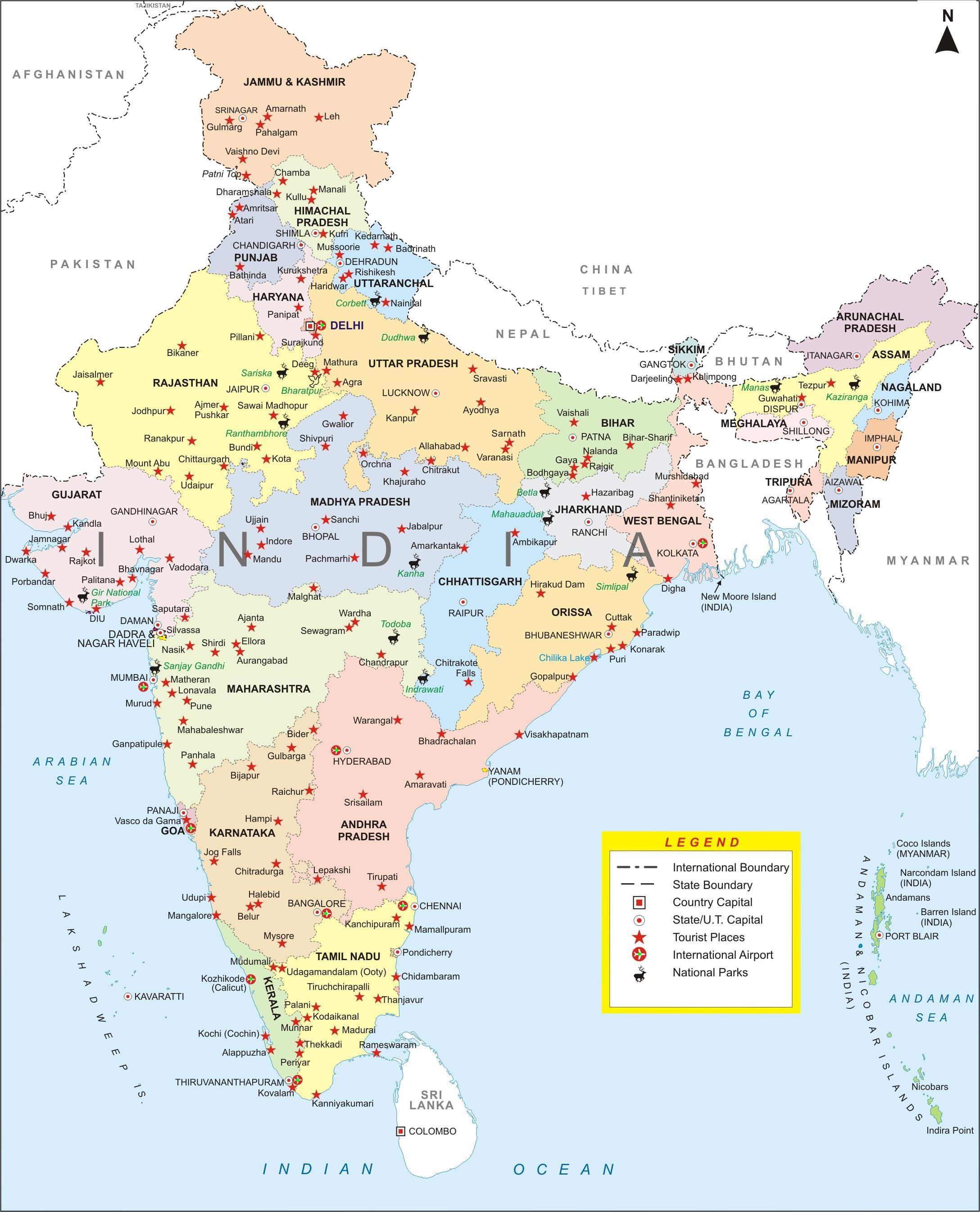 India Maps India Travel Map India Travel Guide - India map