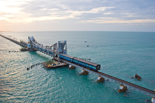 Rameshwaram bridge - Rameshwaram is connected with the mainland through the 2 km long Indira Gandhi Bridge