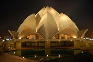 Lotus Temple delhi at night