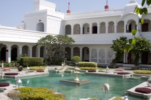 pond inside the Lake Palace hotel in Udaipur