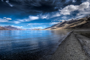 pangong blue black lake Pangong Tso Lake - Ladakh