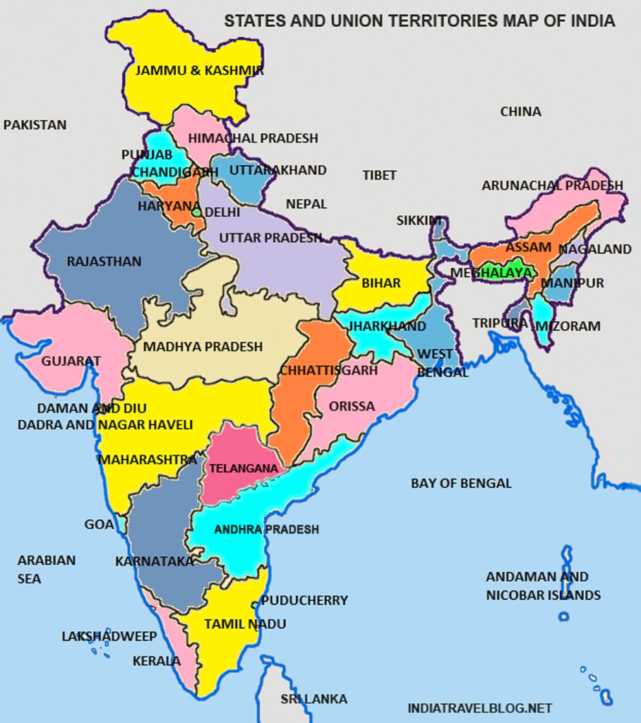 india states and union territories map